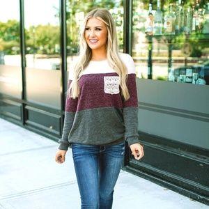 NEW vanilla bay lace crochet pocket sweater top
